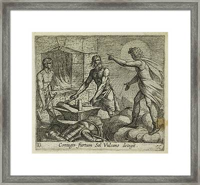 Apollo At Vulcan's Forge Framed Print by British Library