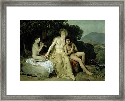 Apollo With Hyacinthus And Cyparissus Singing And Playing, 1831-34 Oil On Canvas Framed Print by Aleksandr Andreevich Ivanov