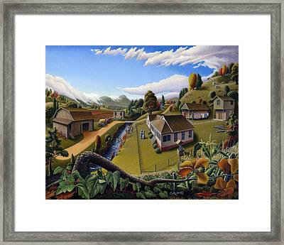 Appalachia Summer Farming Landscape - Appalachian Country Farm Life Scene - Rural Americana Framed Print by Walt Curlee