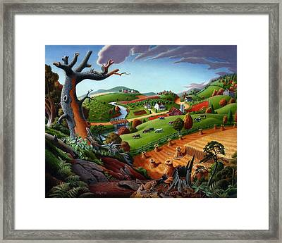 Appalachian Fall Thanksgiving Wheat Field Harvest Farm Landscape Painting - Rural Americana - Autumn Framed Print by Walt Curlee