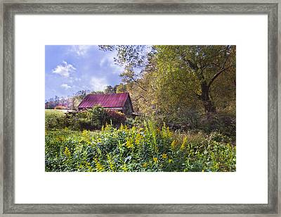 Appalachian Red Roof Barn Framed Print by Debra and Dave Vanderlaan