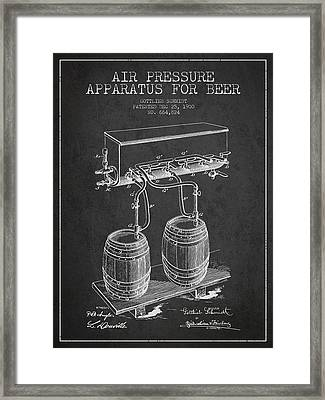 Apparatus For Beer Patent From 1900 - Dark Framed Print by Aged Pixel