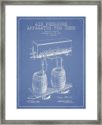 Apparatus For Beer Patent From 1900 - Light Blue Framed Print by Aged Pixel