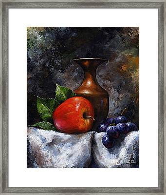 Apple And Grapes Framed Print by Emerico Imre Toth