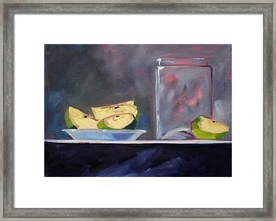Apple Snack Framed Print by Nancy Merkle
