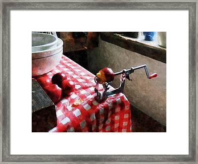 Apples And Apple Peeler Framed Print by Susan Savad