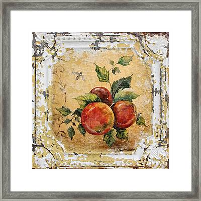 Apples And Bee On Vintage Tin Framed Print by Jean Plout