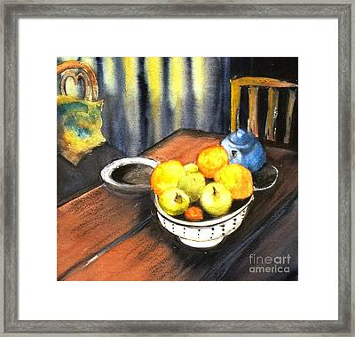 Apples And Oranges - Original Sold Framed Print by Therese Alcorn