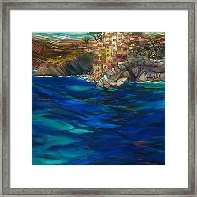 Approach To Riomaggiore Framed Print by Jen Norton