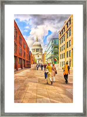 Approaching St. Paul's Cathedral Framed Print by Mark E Tisdale