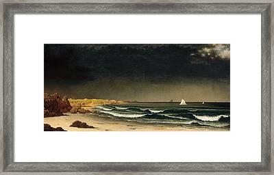 Approaching Storm. Beach Near Newport Framed Print by Martin Johnson Heade