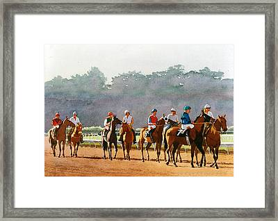 Approaching The Starting Gate Framed Print by Mary Helmreich