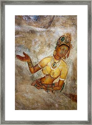 Apsara. Sigiriya Cave Painting Framed Print by Jenny Rainbow