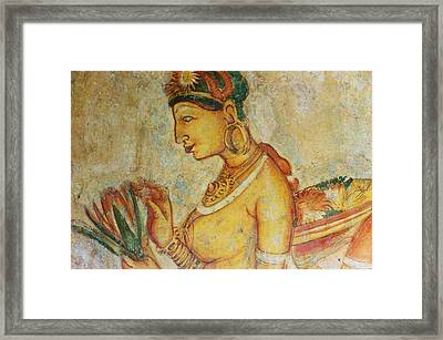 Apsara With Lotus. Sigiriya Cave Fresco Framed Print by Jenny Rainbow