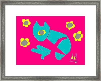 Aqua Cat Framed Print by Anita Dale Livaditis