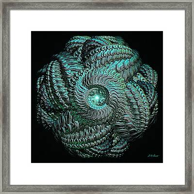 Aqua Celtic Mandala Framed Print by Michael Durst
