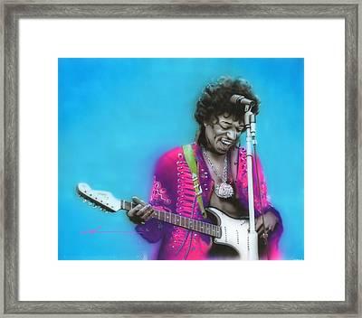 Jimi Hendrix - ' Aqua Haze ' Framed Print by Christian Chapman Art