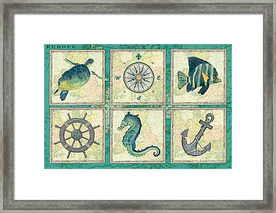Aqua Maritime Patch Framed Print by Debbie DeWitt