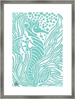 Aqua Seahorse Framed Print by Stephanie Troxell