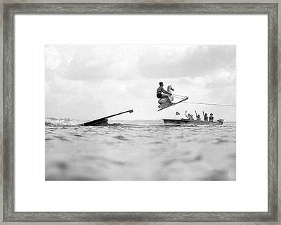 Aquaplane Champ And His Horse Framed Print by Underwood Archives
