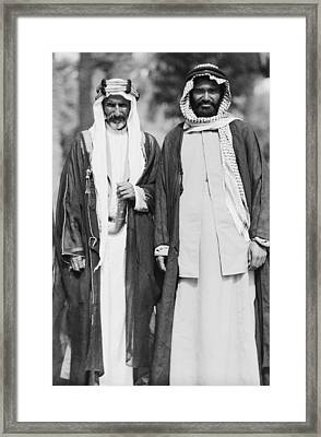 Arab Sheiks At Baghdad Palace Framed Print by Underwood Archives