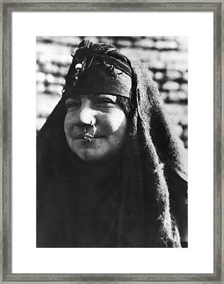 Arab Woman With Nose Ring Framed Print by Underwood Archives