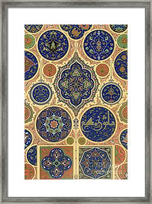 Arabian Decoration Plate Xxvii From Polychrome Ornament Framed Print by Albert Charles August Racinet