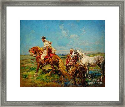 Arabs At The Oasis Framed Print by Celestial Images