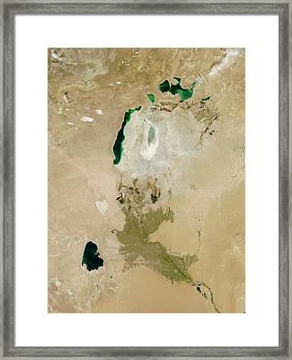 Aral Sea Framed Print by Nasa/jeff Schmaltz