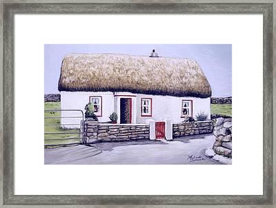 Aran Island Thatched Roof Cottage  Framed Print by Melinda Saminski
