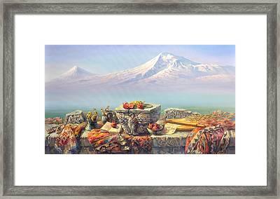 Ararat With A Lavash Framed Print by Meruzhan Khachatryan