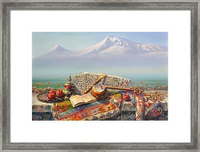 Ararat With Kamancha And Duduk. Framed Print by Meruzhan Khachatryan
