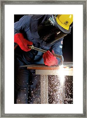 Arc Welder At Work Framed Print by Crown Copyright/health & Safety Laboratory Science Photo Library
