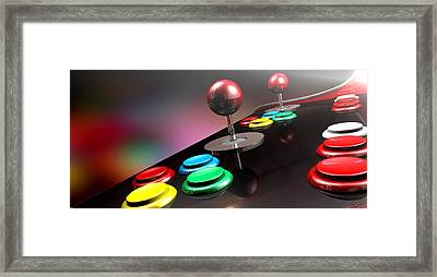 Arcade Control Panel With Joystick And Buttons Framed Print by Allan Swart