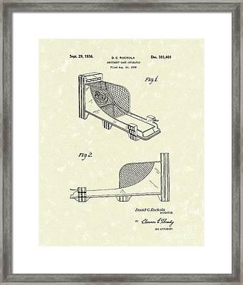 Arcade Game 1936 Patent Art Framed Print by Prior Art Design