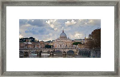 Arch Bridge Across Tiber River With St Framed Print by Panoramic Images