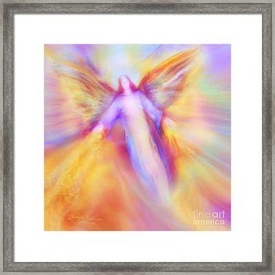 Archangel Uriel In Flight Framed Print by Glenyss Bourne
