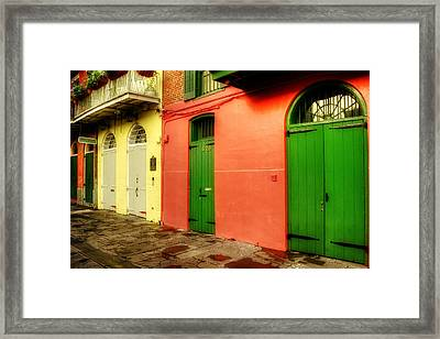 Arched Doors Of Pirates Alley Framed Print by Chrystal Mimbs