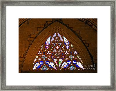 Arched Stained Glass Window Framed Print by Cindy Lee Longhini