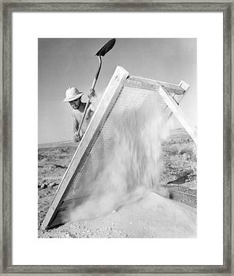 Archeologist At Work Framed Print by Underwood Archives