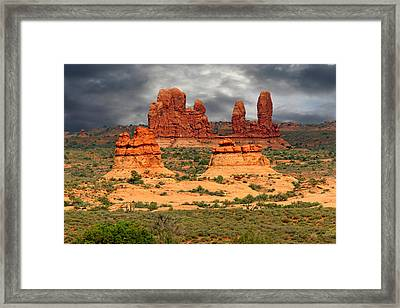 Arches National Park - A Picturesque Drama Framed Print by Christine Till