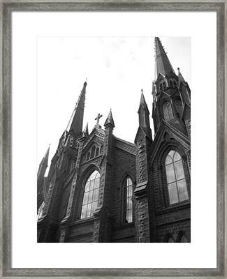 architecture churches . Gothic Spires in Black and White  Framed Print by Ann Powell