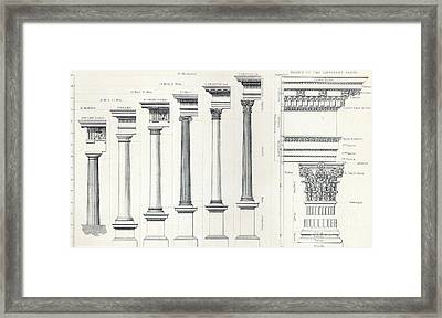 Architecture I Orders Of Architecture Engraved By Charles Lawrie Framed Print by  John Burley Waring