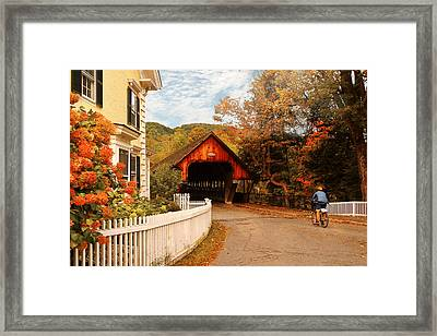 Architecture - Woodstock Vt - Entering Woodstock Framed Print by Mike Savad