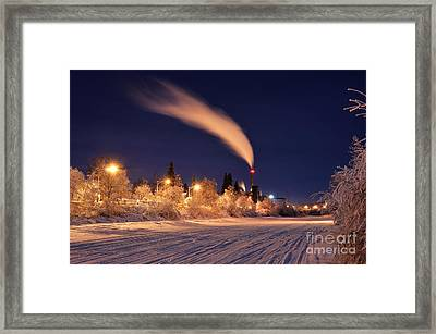 Arctic Power At Night Framed Print by Gary Whitton