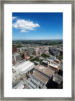 Arial View Of Calgary Facing North East Framed Print by Lisa Knechtel