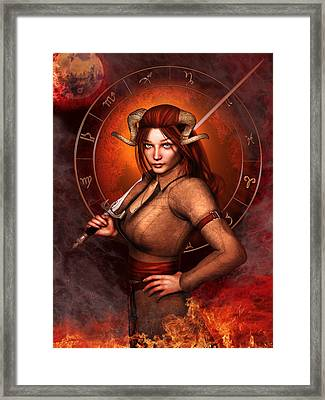 Aries Fantasy Zodiac Edition Framed Print by Britta Glodde