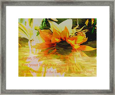 Arise Shine Framed Print by Beverly Guilliams