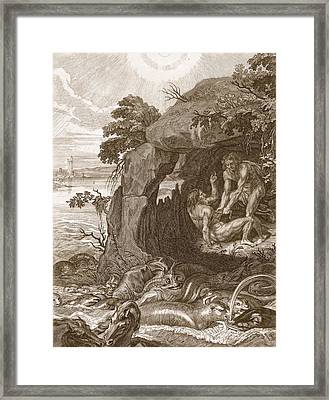 Aristeus Compels Proteus To Reveal Framed Print by Bernard Picart