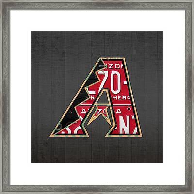 Arizona Diamondbacks Baseball Team Vintage Logo Recycled License Plate Art Framed Print by Design Turnpike